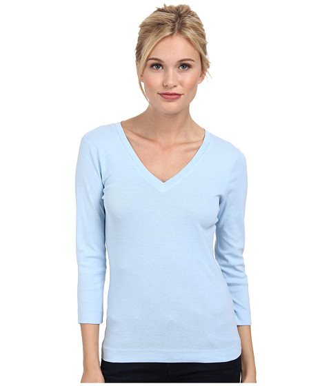 Three Dots - 3/4 Sleeve Deep V-Neck (Chambray 2) Women's Long Sleeve Pullover