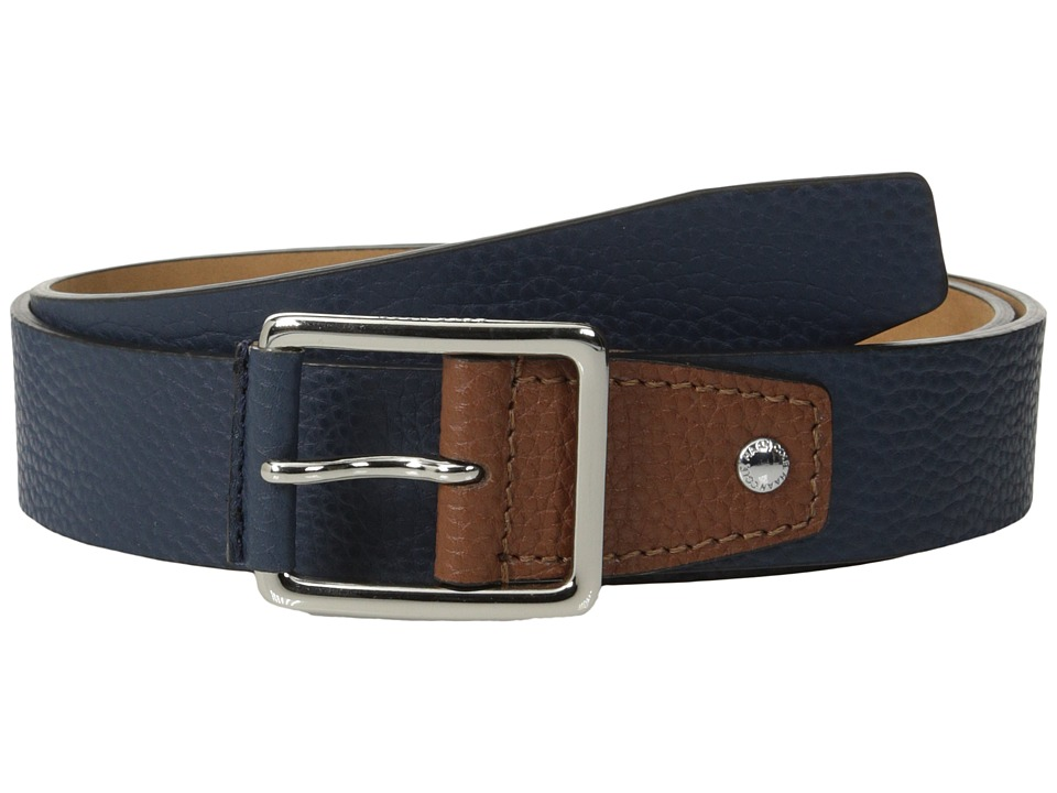 Cole Haan - 35mm Flat Stitch Strap Pebble Leather Pop Color Tab (Navy/British Tan) Men's Belts
