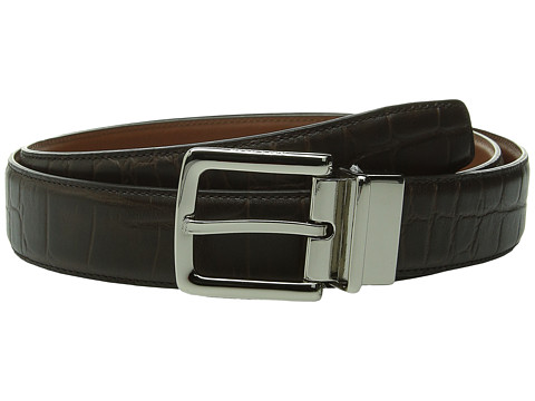 Cole Haan - 32mm Reversible Croc To Veg (Chocolate) Men's Belts