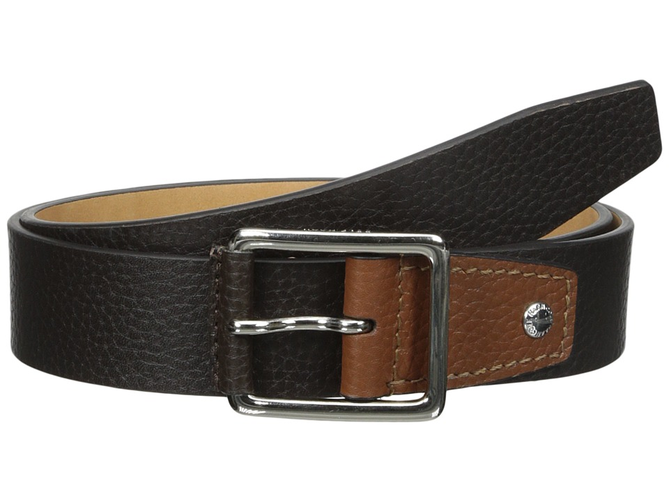 Cole Haan - 35mm Flat Stitch Strap Pebble Leather Pop Color Tab (Chocolate/British Tan) Men