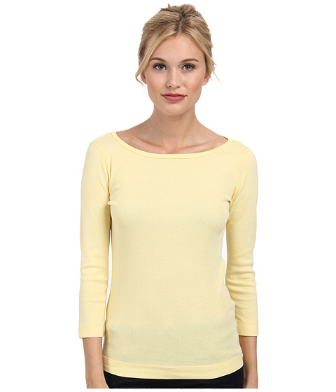 Three Dots - 3/4 Sleeve British Tee (Limonade) Women's Long Sleeve Pullover