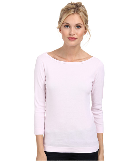 Three Dots - 3/4 Sleeve British Tee (Sheer Pink) Women's Long Sleeve Pullover