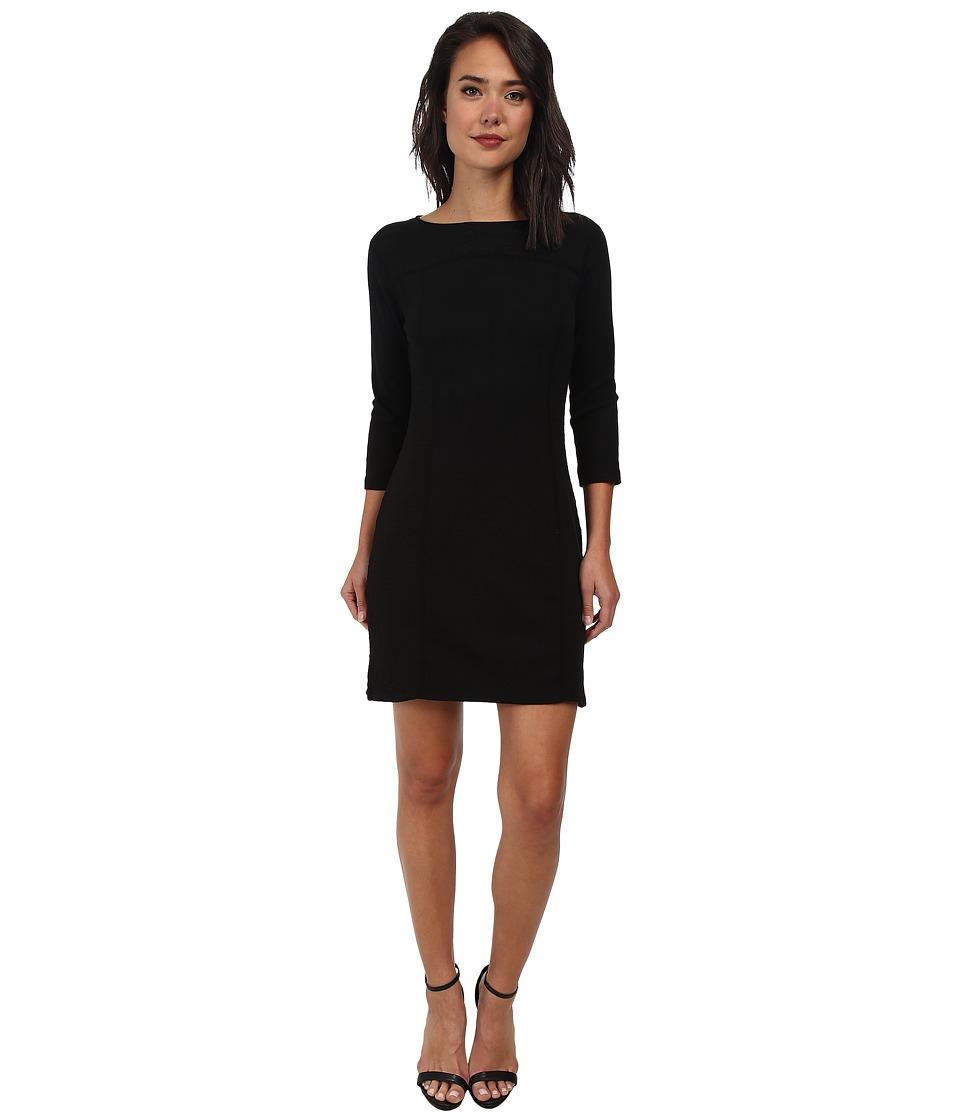 Three Dots 3/4 Sleeve Dress w/ Side Slits (Black) Women