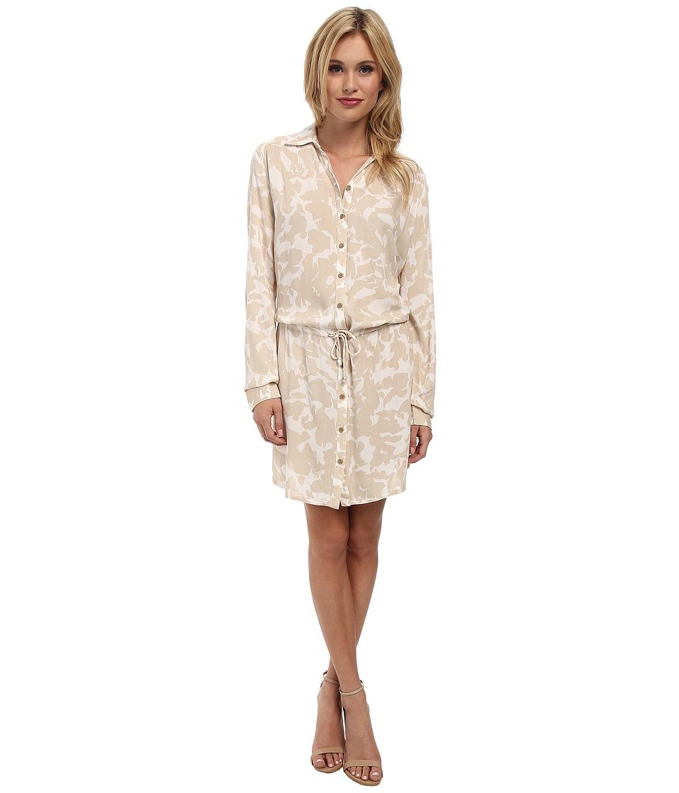 Three Dots - Long Sleeve Shirt Dress (Caribbean Sand) Women's Dress