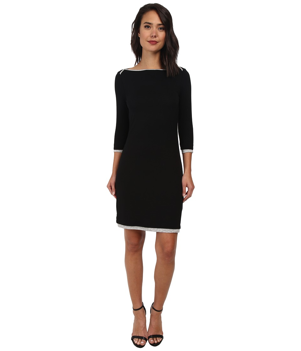 Three Dots - Reversible 3/4 Sleeve Dress (Black/Granite) Women