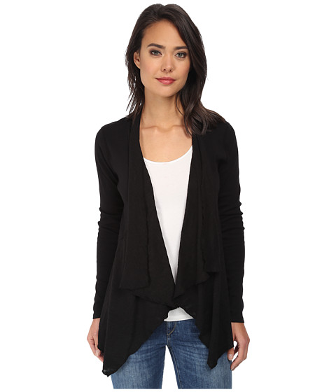 Three Dots - Contrast Cardigan (Black) Women's Sweater