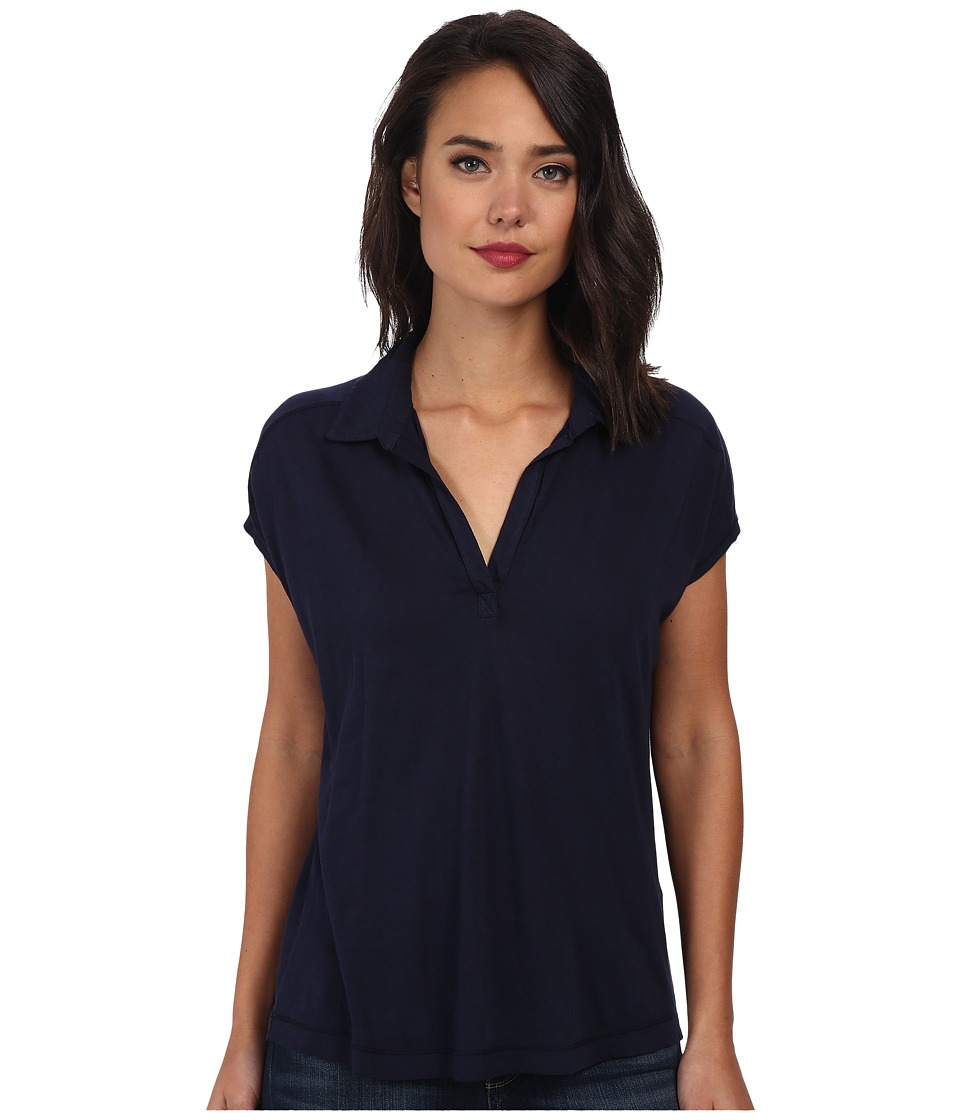 Three Dots - Cap Sleeve Polo (Night Iris) Women's Short Sleeve Pullover