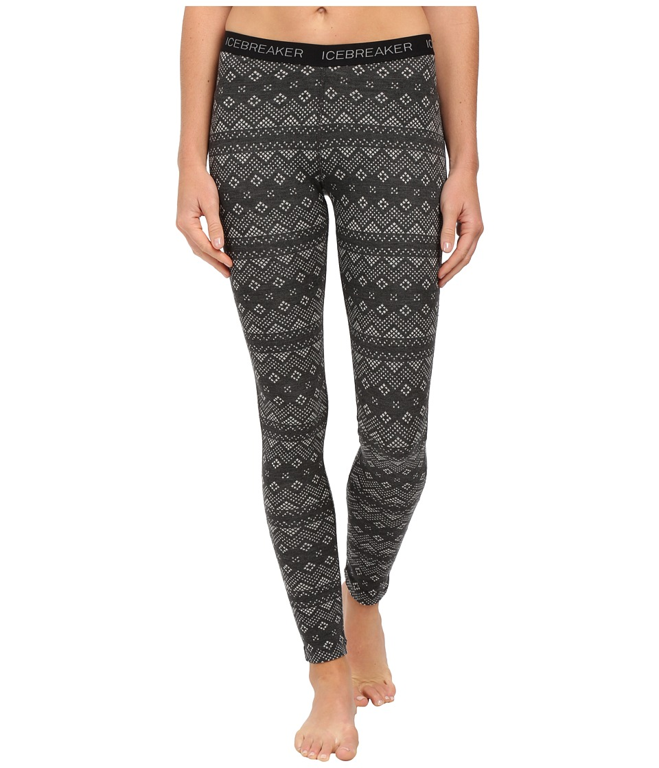 Icebreaker Vertex Leggings Icon Fairisle (Jet Heather/Black/Snow) Women