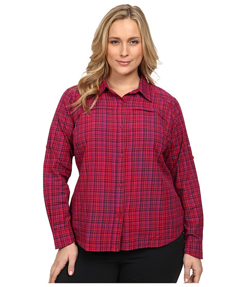 Columbia - Plus Size Silver Ridge Plaid Long Sleeve Shirt (Pomegranate/Ripstop) Women's Long Sleeve Button Up