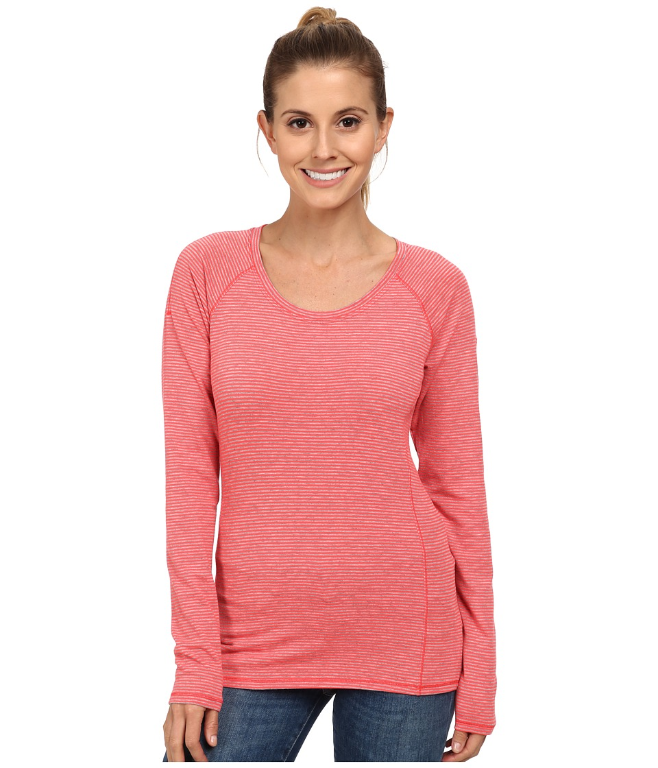 Columbia - Layer First Stripe Long Sleeve Top (Laser Red Heathered Stripe) Women's Long Sleeve Pullover