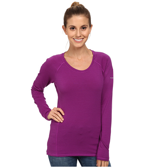 Columbia - Layer First Stripe Long Sleeve Top (Bright Plum/Plum Stripe) Women's Long Sleeve Pullover