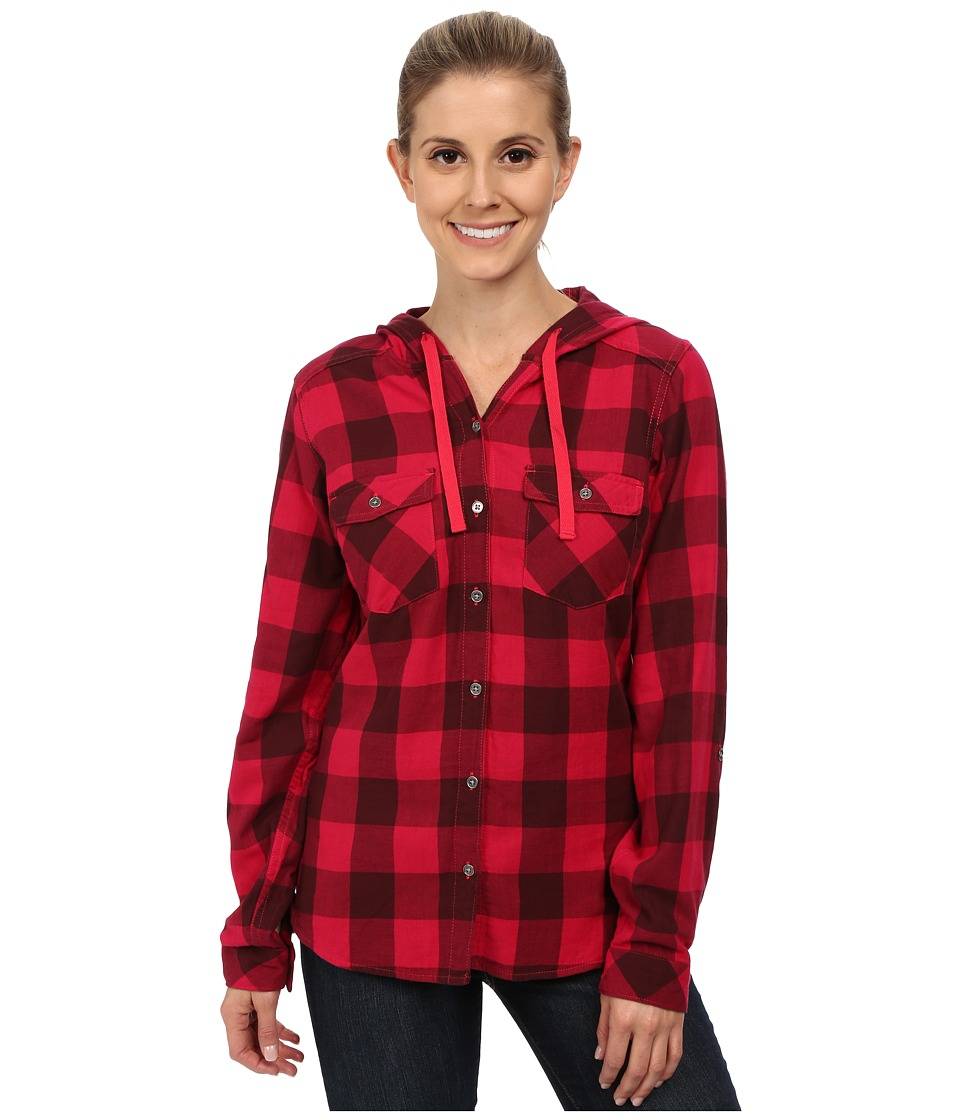 Columbia - Times Two Hooded Long Sleeve Shirt (Ruby Red Buffalo Plaid) Women