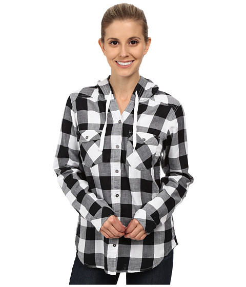 Columbia - Times Two Hooded Long Sleeve Shirt (White Buffalo Plaid) Women's Long Sleeve Button Up