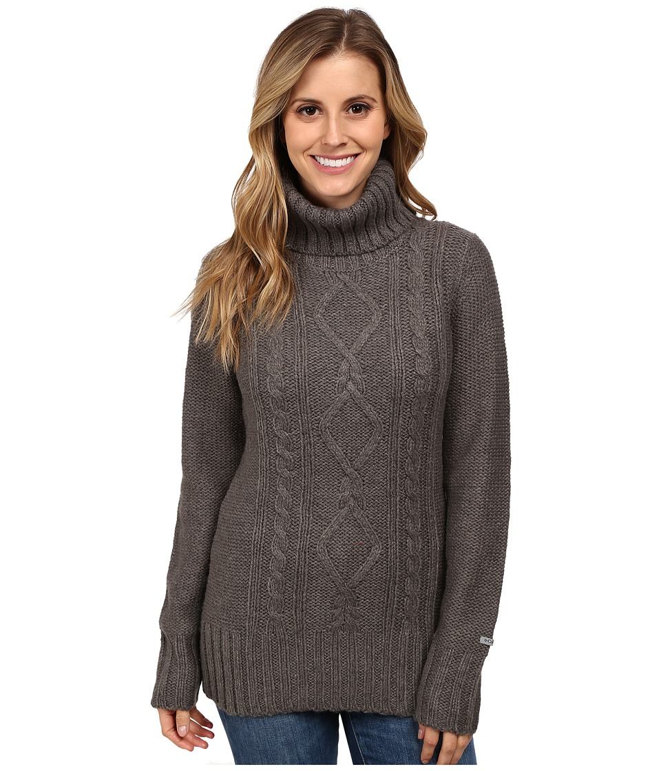 Columbia - Hideaway Haven Cabled Turtleneck (Charcoal Heather) Women's Long Sleeve Pullover