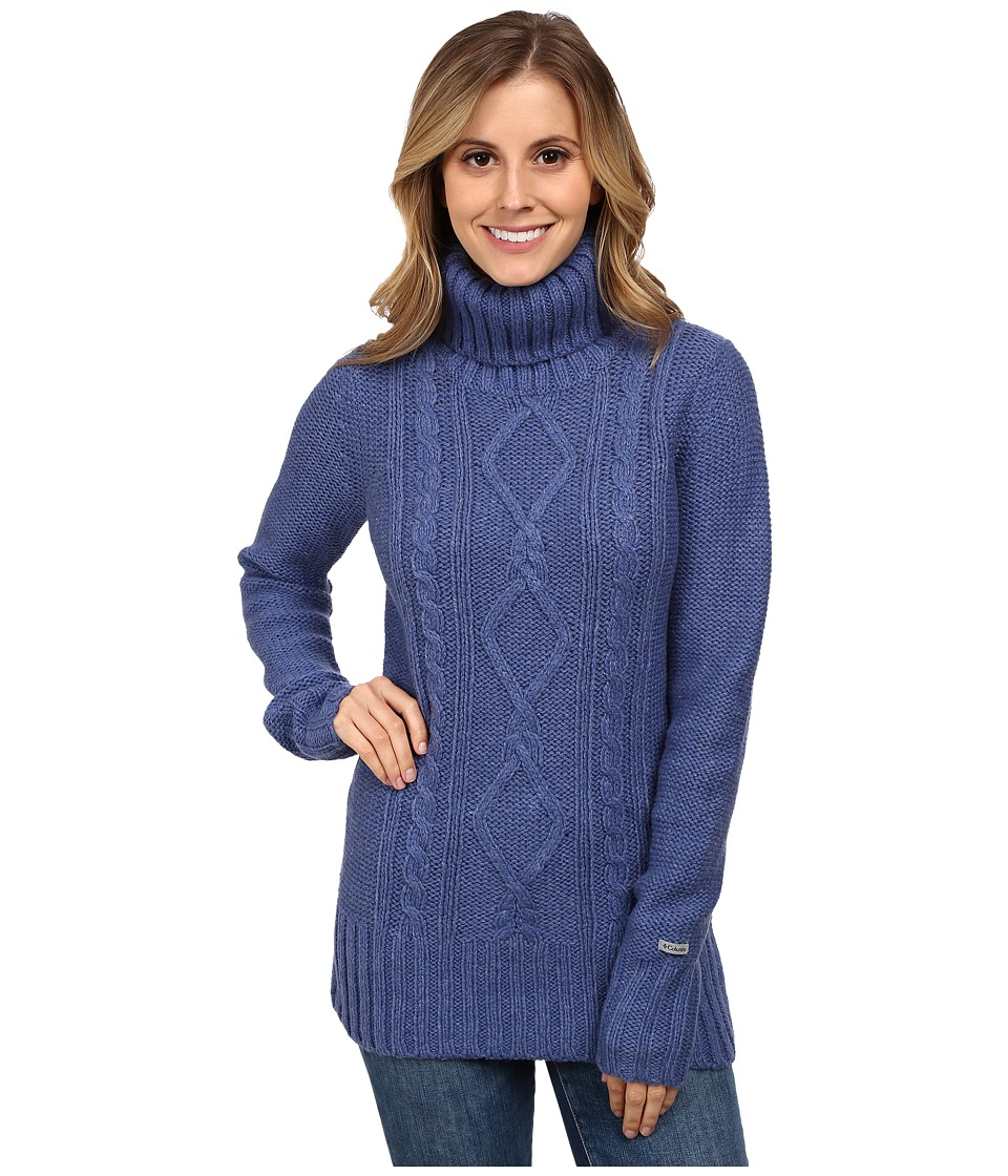Columbia - Hideaway Haven Cabled Turtleneck (Bluebell Heather) Women's Long Sleeve Pullover