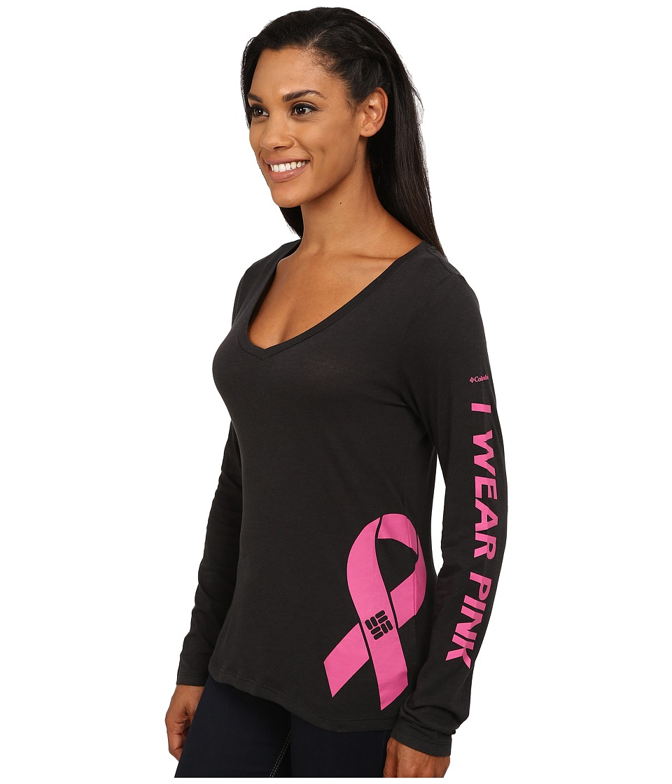 Columbia - Tested Tough in Pink Graphic Long Sleeve Shirt (Black) Women's Long Sleeve Pullover