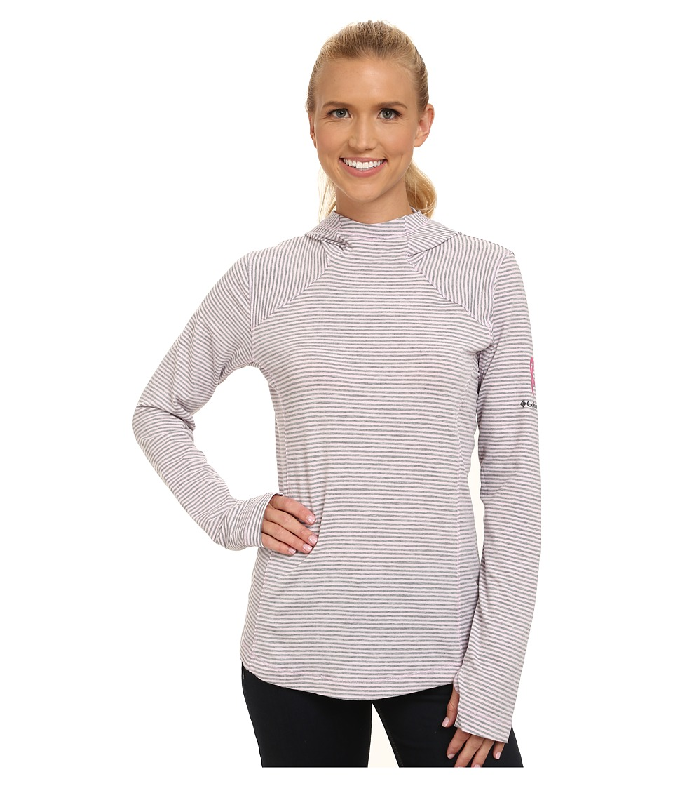 Columbia - Tested Tough in Pink Layer First Hoodie (Isla Heathered Stripe) Women's Sweatshirt