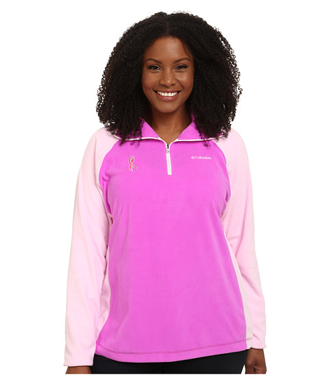 Columbia - Plus Size Tested Tough in Pink Fleece Half Zip (Foxglove/Isla) Women's Long Sleeve Pullover