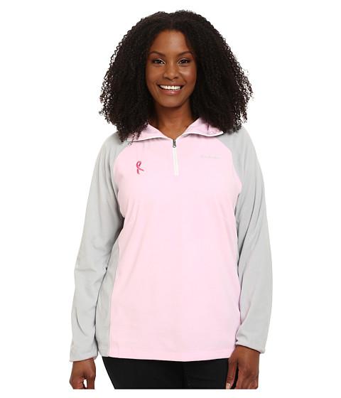 Columbia - Plus Size Tested Tough in Pink Fleece Half Zip (Isla/Cool Grey) Women