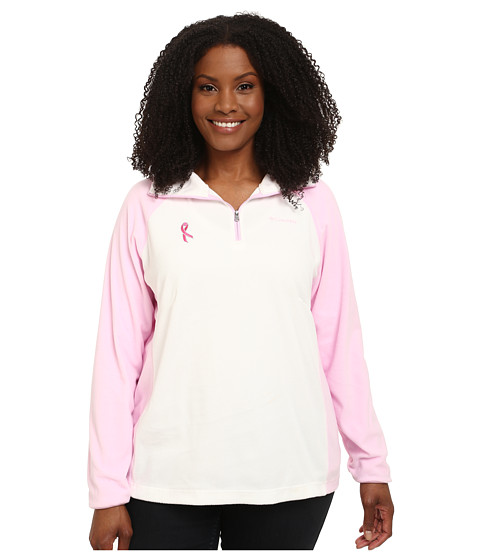 Columbia - Plus Size Tested Tough in Pink Fleece Half Zip (Sea Salt/Isla) Women