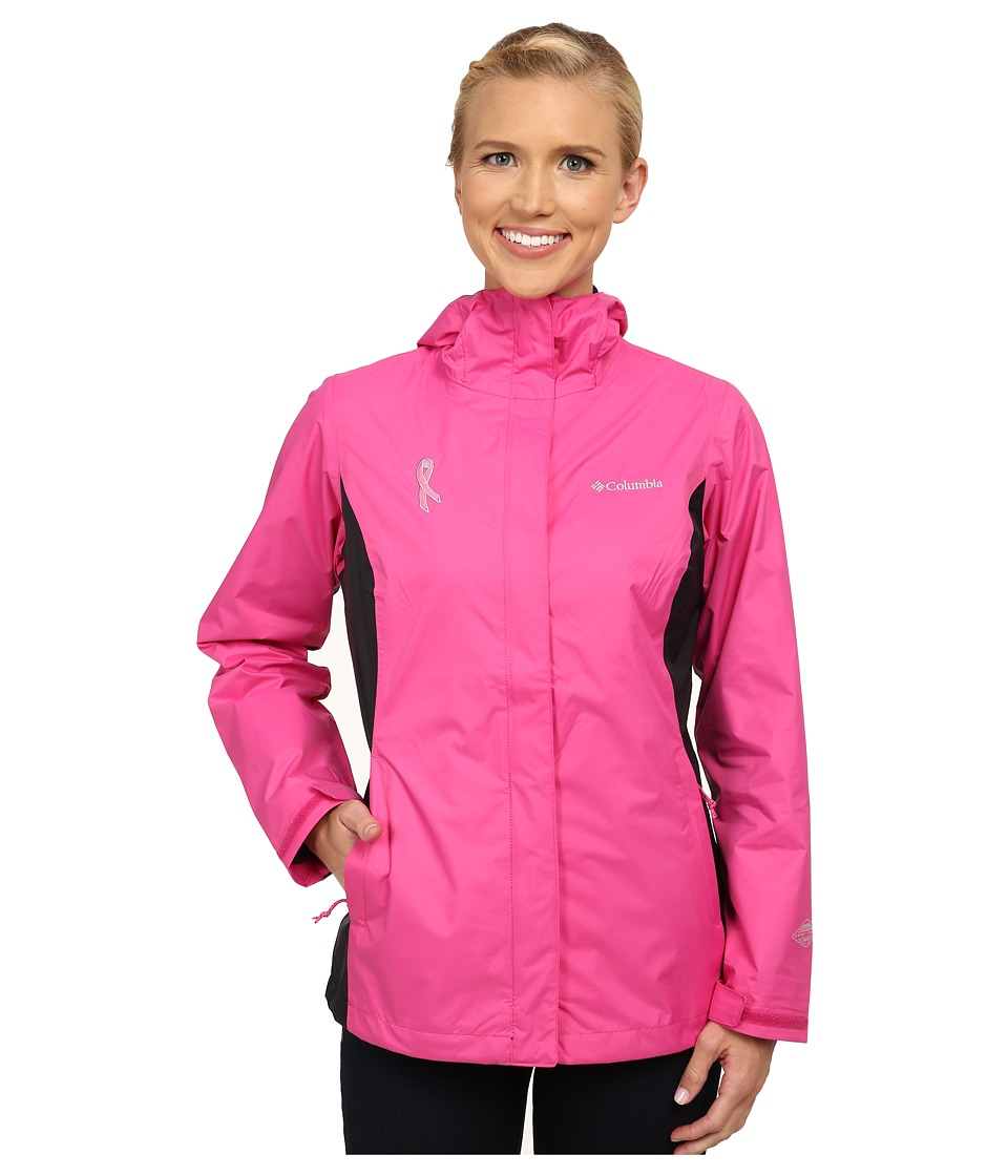 Columbia - Tested Tough in Pink Rain Jacket II (Pink Ice/Black) Women's Coat