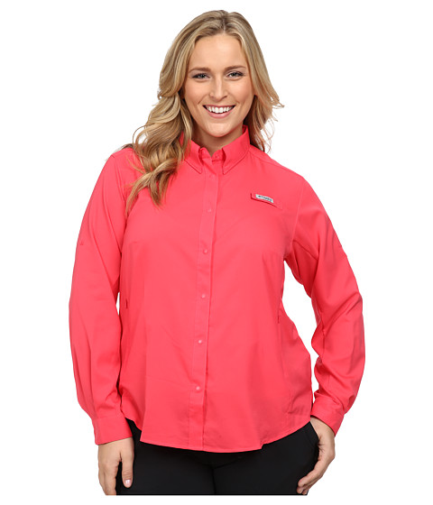 Columbia - Plus Size Tamiami II L/S Shirt (Tango Pink) Women's Long Sleeve Button Up