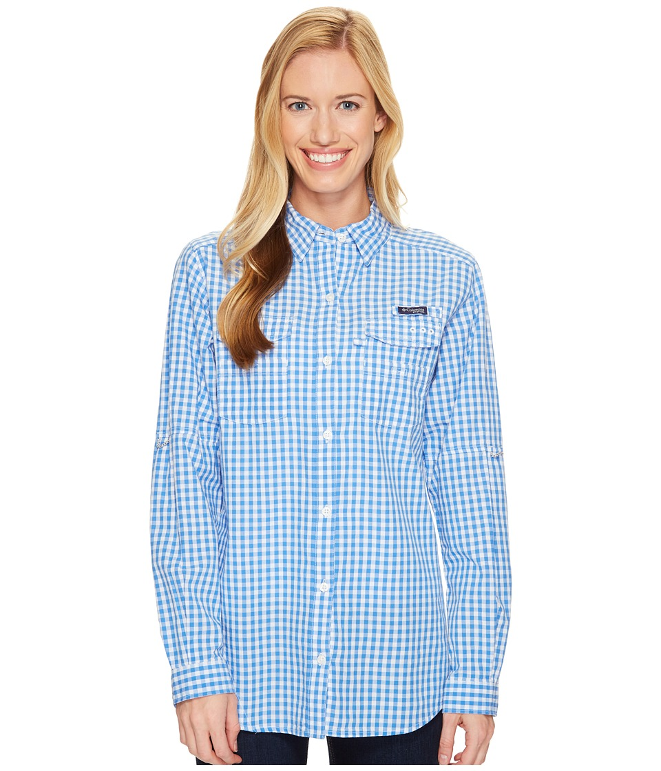 Columbia - Super Boneheadtm II L/S Shirt (Harbor Blue Gingham) Women's Long Sleeve Button Up