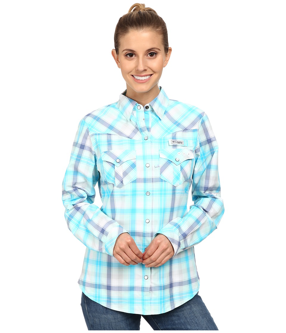 Columbia - Beadhead Long Sleeve Shirt (Atoll Check Plaid) Women's Long Sleeve Button Up