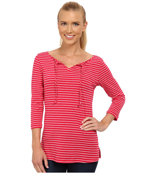 Columbia - Reel Beauty II 3/4 Sleeve Shirt (Ruby Red Stripe) Women's T Shirt