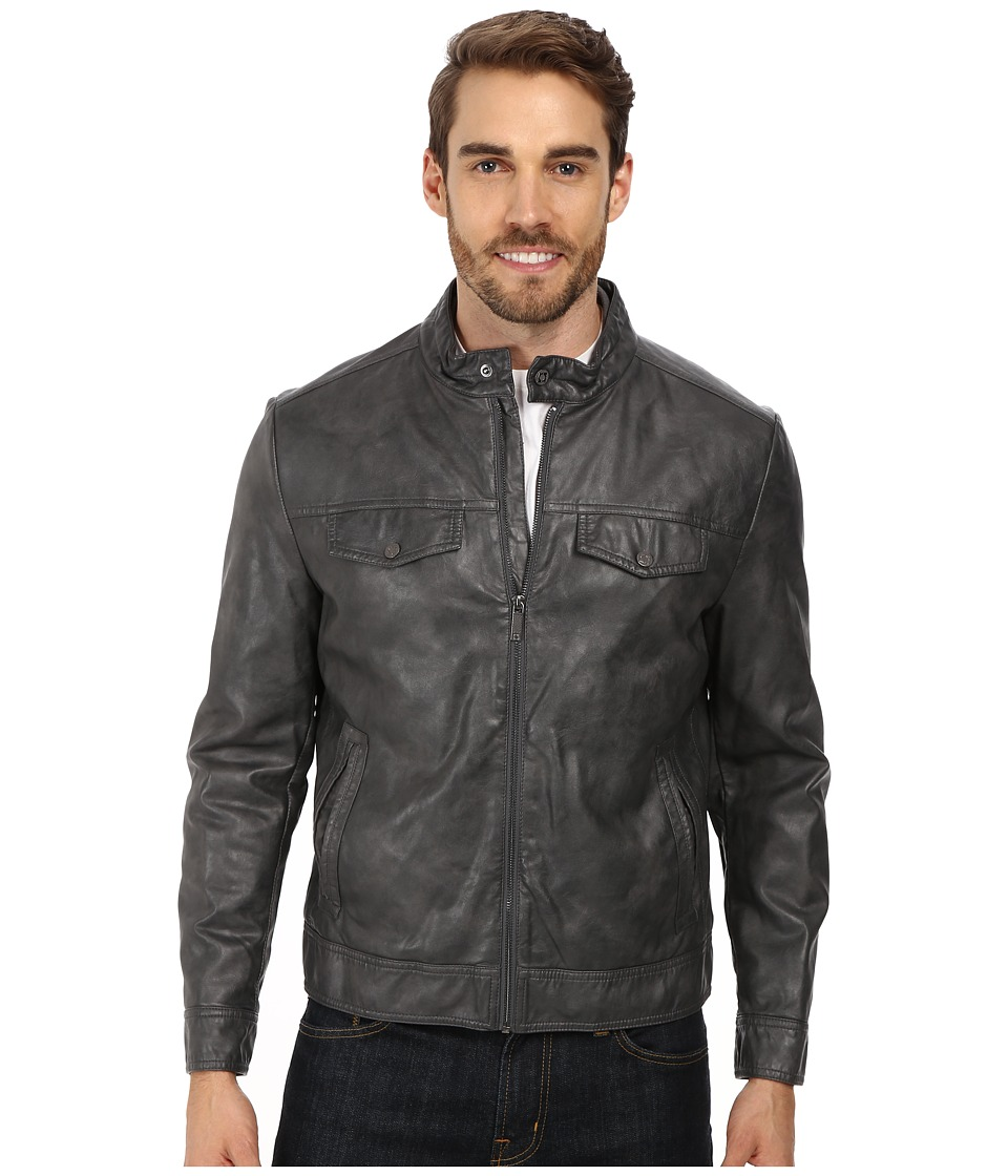 Kenneth Cole Reaction - PU Zip Front Jacket (Coal) Men's Coat