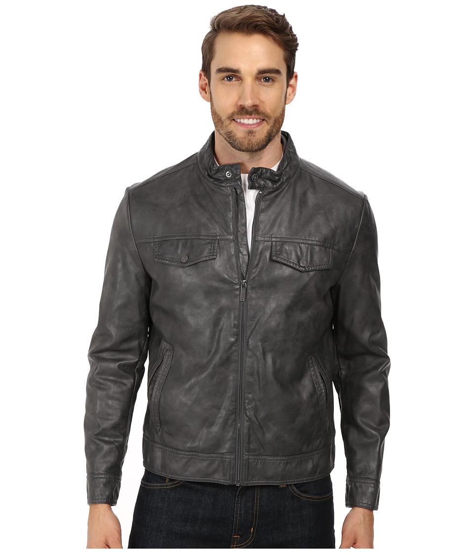 Kenneth Cole Reaction - PU Zip Front Jacket (Coal) Men's Coat