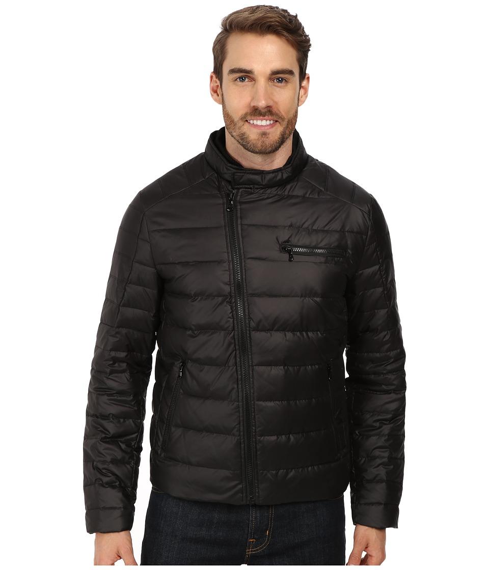Kenneth Cole New York - Down Flap Zip Front Jacket (Black) Men's Coat