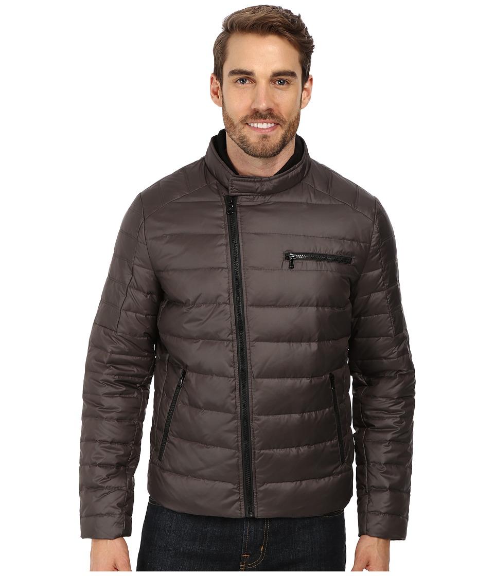 Kenneth Cole New York - Down Flap Zip Front Jacket (Dark Tin) Men's Coat