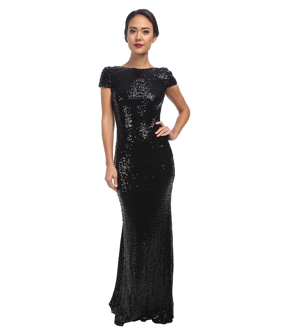 Badgley Mischka - Cowl Back Sequin (Black) Women's Dress
