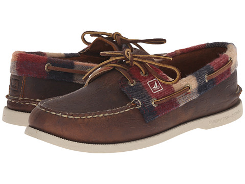 Sperry Top-Sider - A/O 2-Eye Plaid (Brown/Red) Men's Lace up casual Shoes
