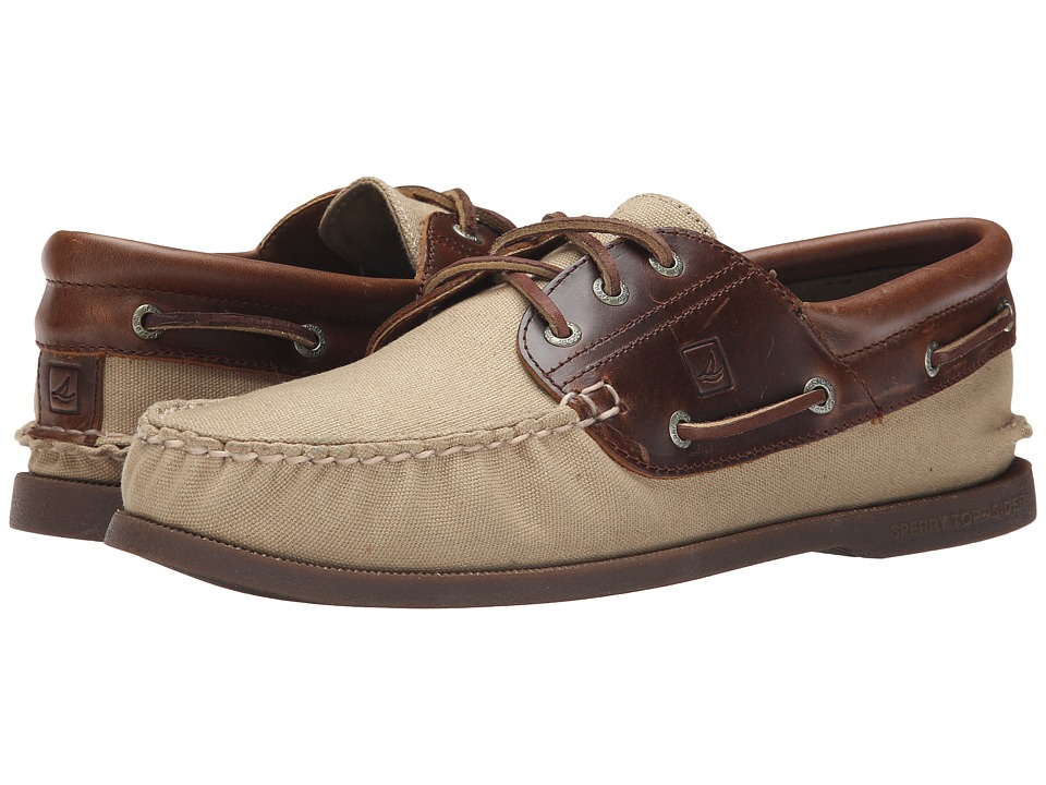 Sperry - A/O 3-Eye Padded Collar Duck Cloth (Brown) Men's Lace up casual Shoes