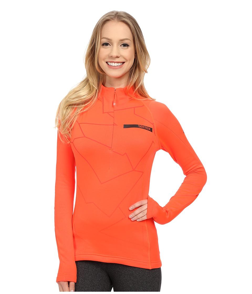 adidas Outdoor - Terrex Icesky Long Sleeve II Top (Solar Red) Women's Long Sleeve Pullover