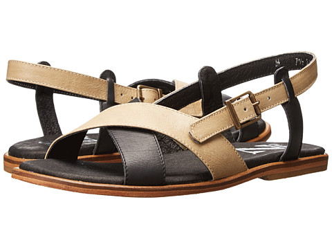 Type Z - Angelina (Black/Bone Leather) Women's Sandals