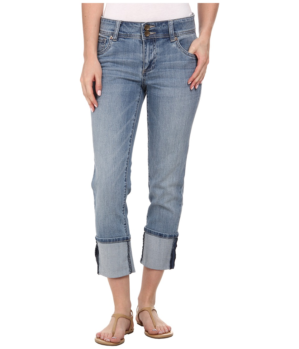 KUT from the Kloth - Straight Legs Wide Roll-Up Scoop Front (Moderate/Medium Base Wash) Women