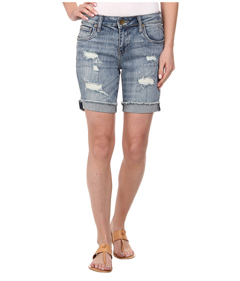 KUT from the Kloth - Catherine Boyfriend Shorts Raw Cuff (Glorious/Medium Base Wash) Women's Shorts