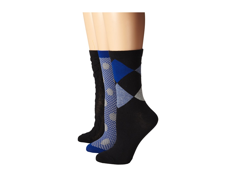 Cole Haan - Argyle/Ruched 3-Pack (Black) Women's Crew Cut Socks Shoes