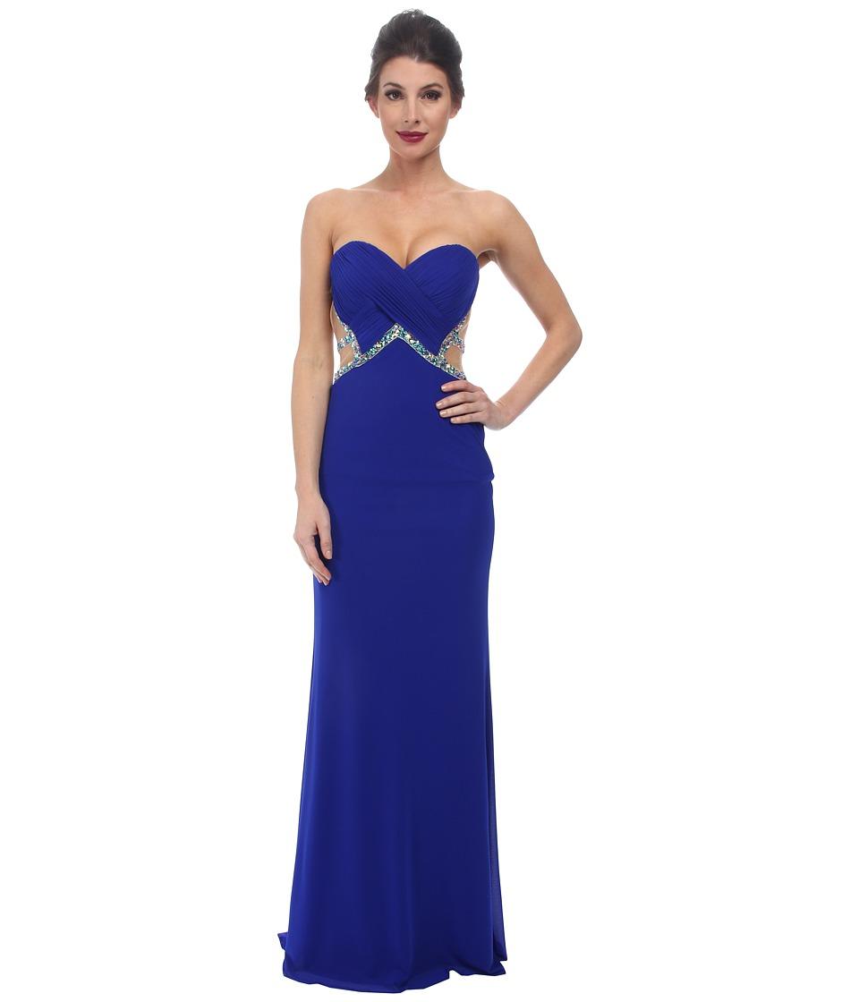 Faviana Mesh Sweetheart Ruched Bust Dress 7512 (Electric Blue) Women