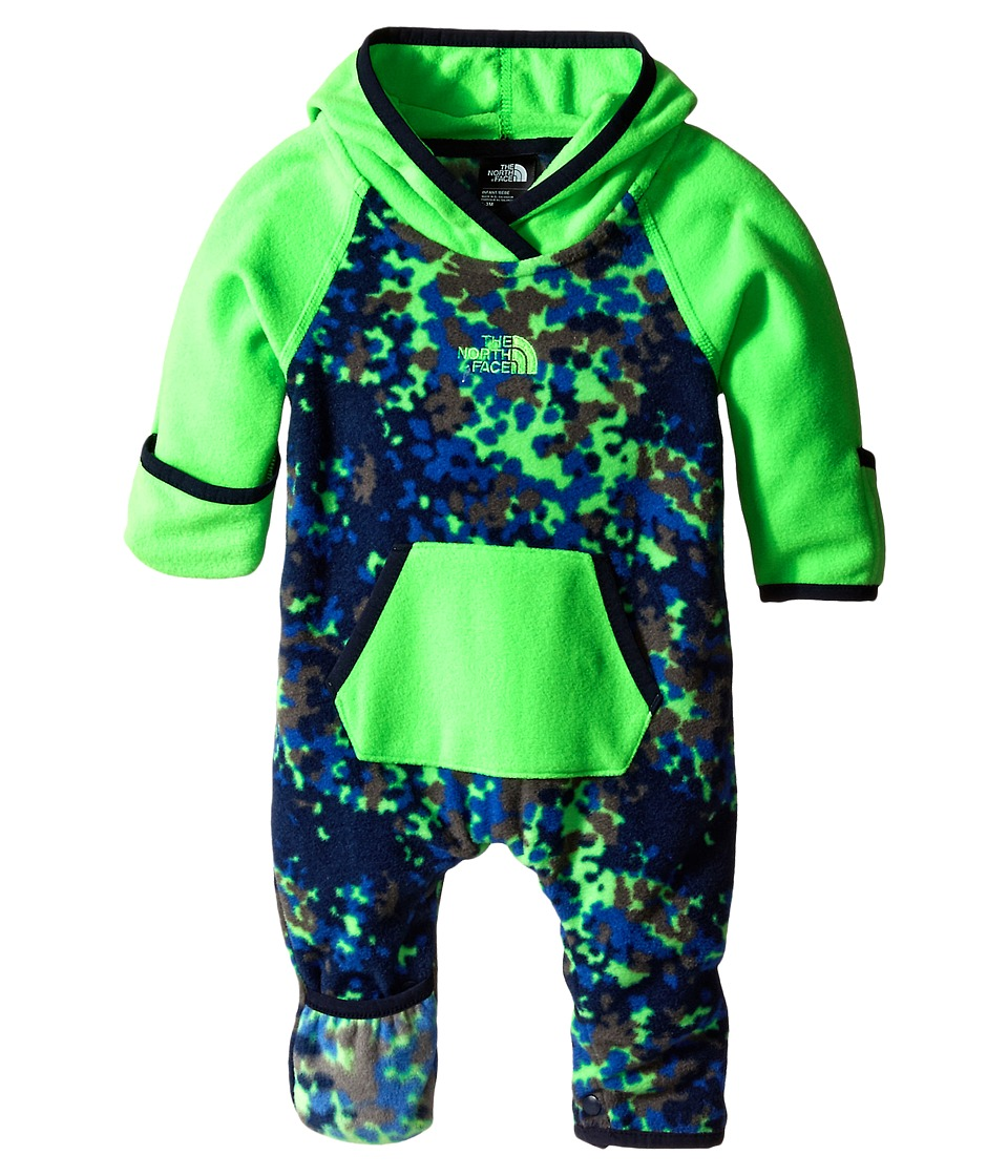 The North Face Kids - Glacier One Piece (Infant) (Krypton Green Marble Combo) Kid's Jumpsuit & Rompers One Piece