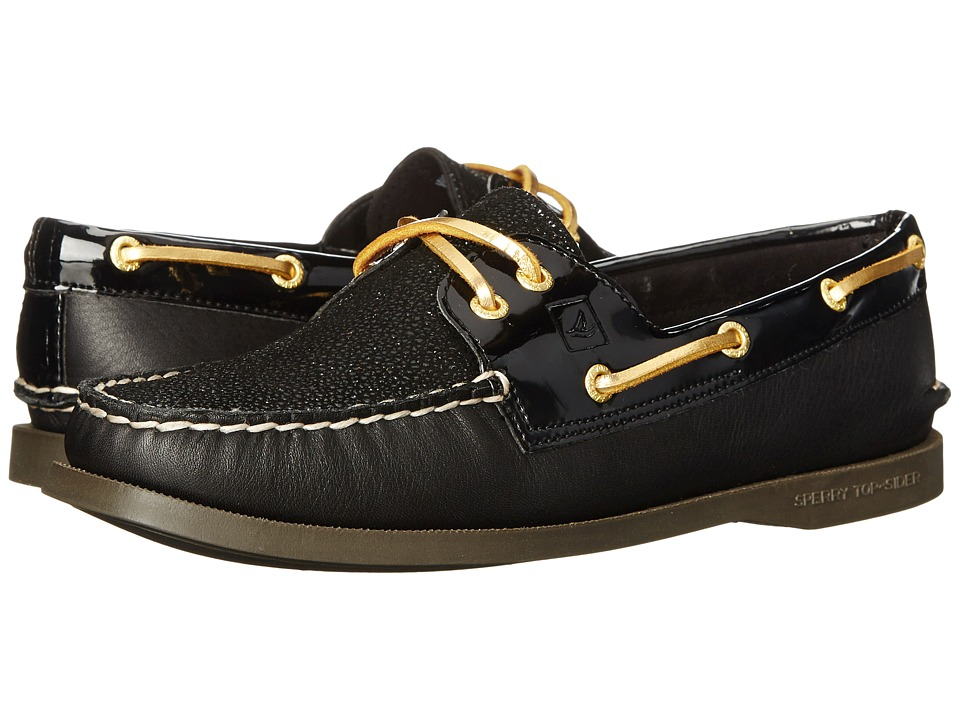 Sperry - A/O 2-Eye Caviar (Black) Women's Lace up casual Shoes
