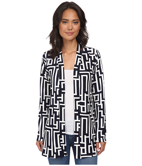 Christin Michaels - Jillian Cardigan (Navy/White) Women's Sweater