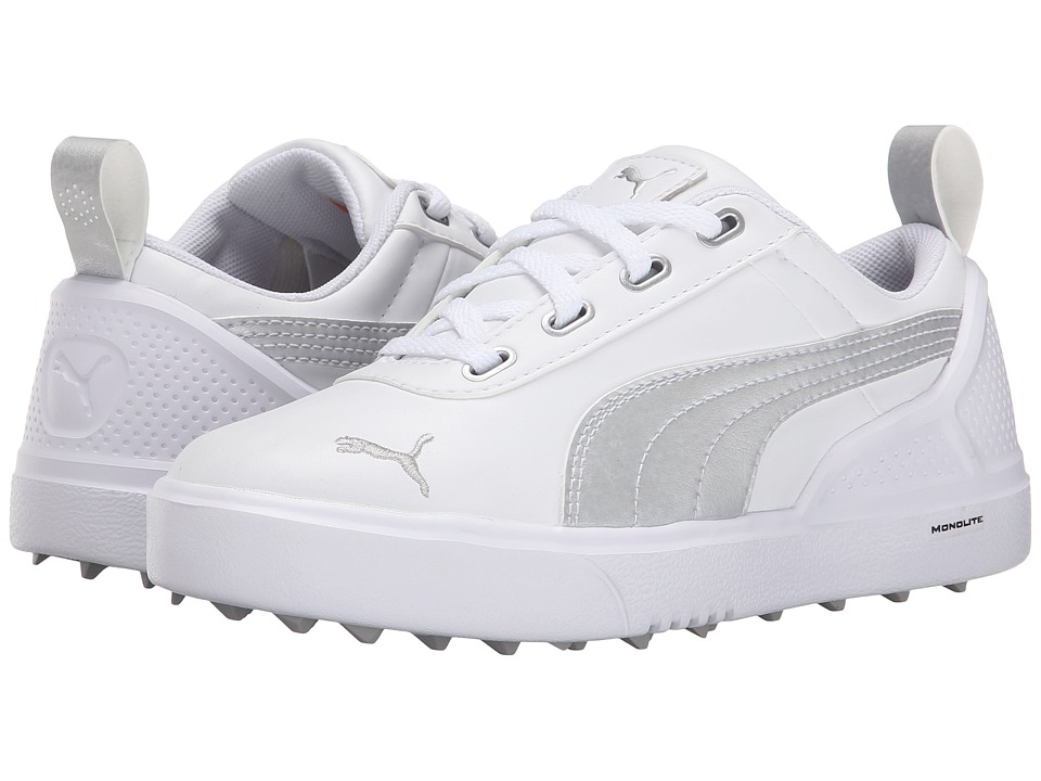 PUMA Golf - Monolitemini (Little Kid/Big Kid) (White/Silver Metallic) Golf Shoes