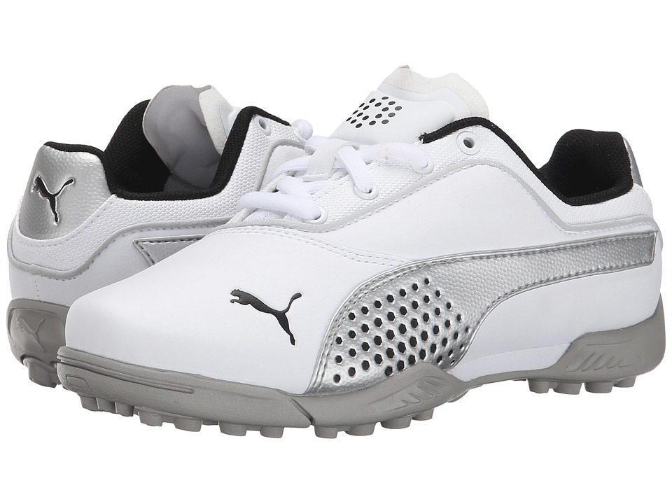 PUMA Golf - Titantour Jr. (Little Kid/Big Kid) (White/Silver Metallic) Golf Shoes