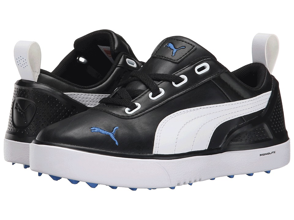 PUMA Golf - Monolitemini (Little Kid/Big Kid) (Black/White/Strong Blue) Golf Shoes
