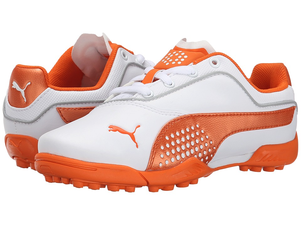 PUMA Golf - Titantour Jr. (Little Kid/Big Kid) (White/Vibrant Orange) Golf Shoes