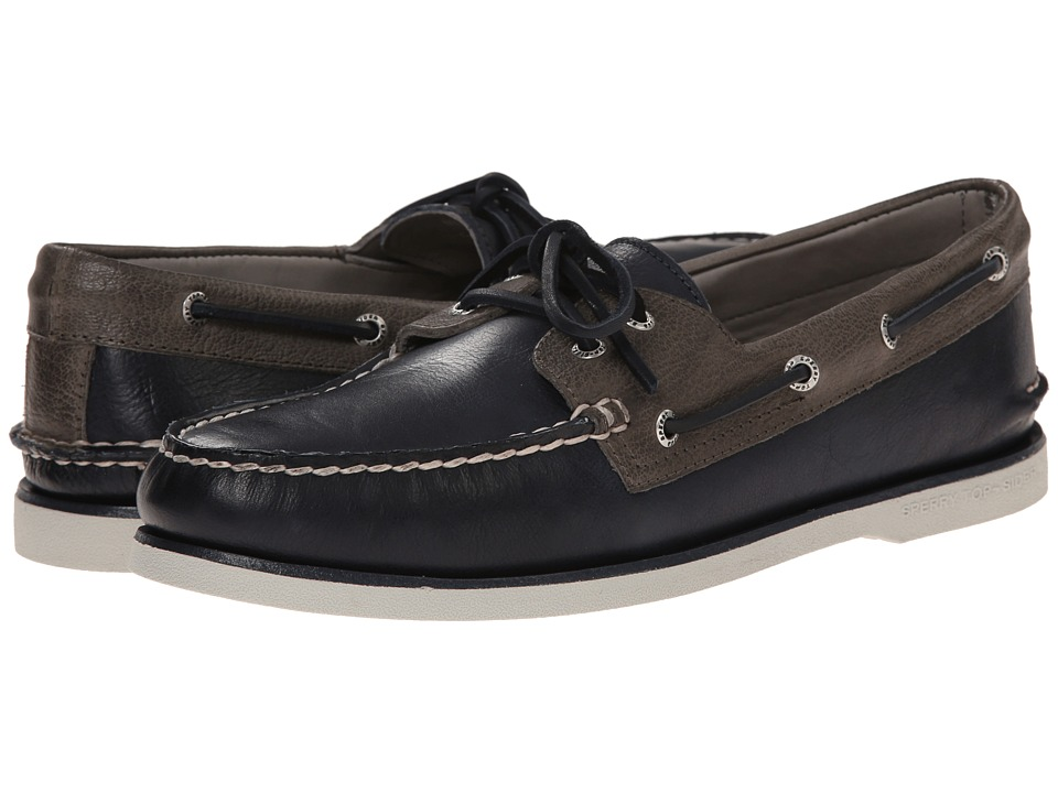 Sperry Top-Sider - Gold A/O 2-Eye (Navy/Grey) Men's Slip on Shoes